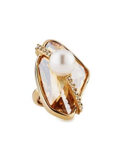 Asymmetric Crystal Simulated-Pearl Ring