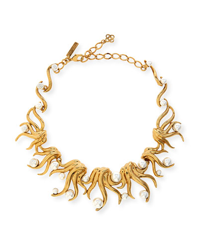 Sea Swirl Statement Necklace, Light Gold