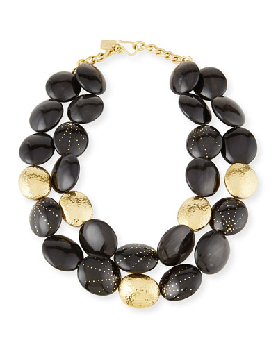 Burudani Two-Strand Necklace, Black
