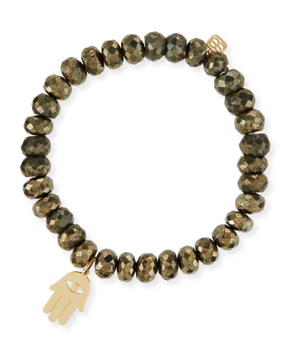 8mm Champagne Pyrite Beaded Bracelet with 14K Hamsa Charm