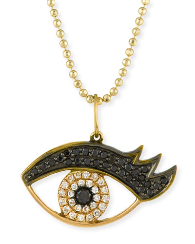 14K Gold Eyelash Pendant Necklace with Diamonds