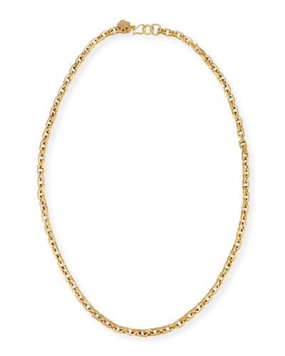 Hisia Long Hammered Bronze Link Necklace  40