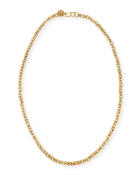 """Hisia Long Hammered Bronze Link Necklace, 40"""""""