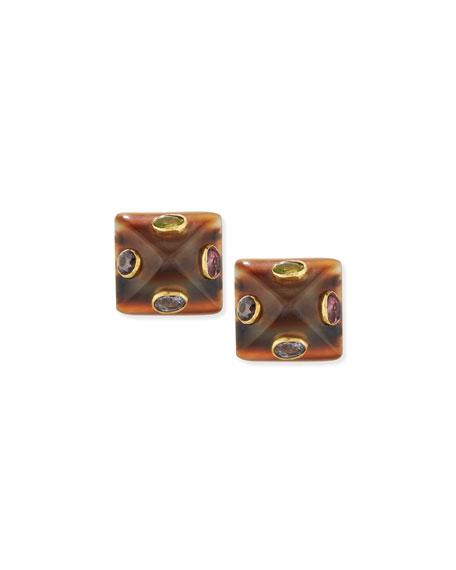Ukwasi Horn & Crystal Pyramid Stud Earrings