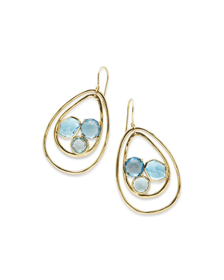18K Rock Candy Pear-Shaped Wire Earrings in Midnight Rain