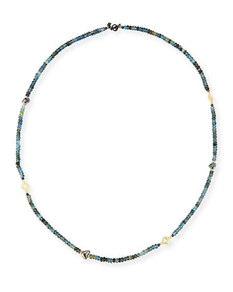 """Old World Beaded Aquamarine & Keshi Pearl Necklace, 34"""""""