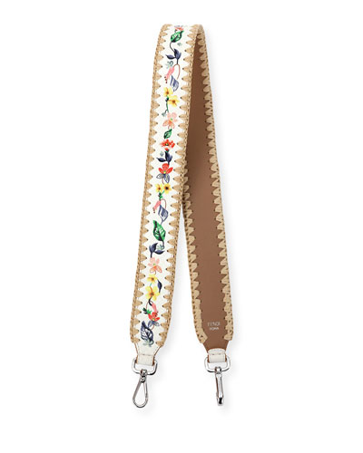 Strap You Floral Snakeskin Shoulder Strap for Handbag, White/Multi