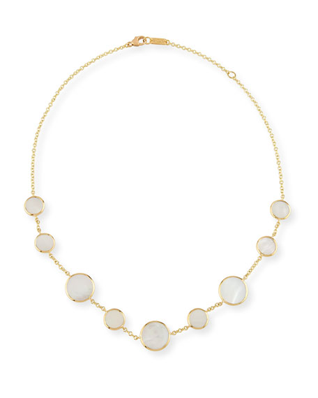 18K Polished Rock Candy Circle Station Necklace in Mother-of-Pearl