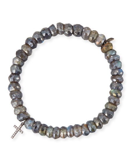 8mm Labradorite Beaded Bracelet with Diamond Cross Charm