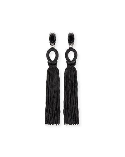 Long Crystal Loop Tassel Clip Earrings  Black