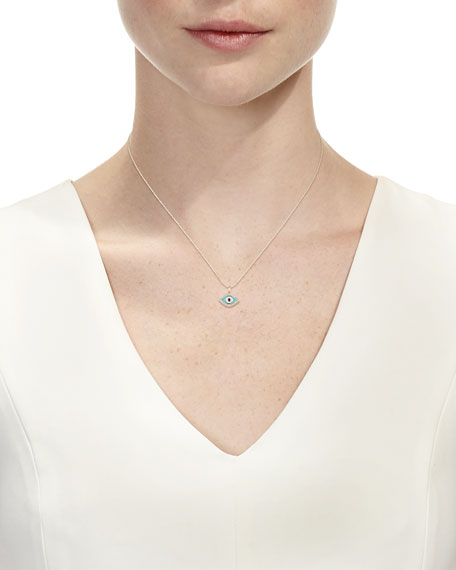 14k Diamond Evil Eye Pendant Necklace