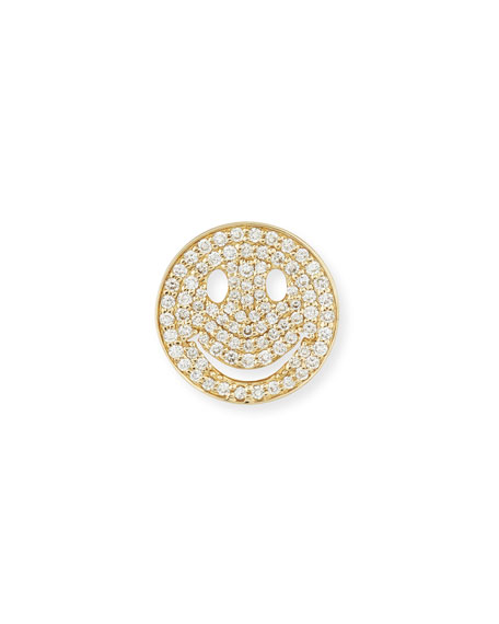 Large Pavé Diamond Happy Face Stud Earring