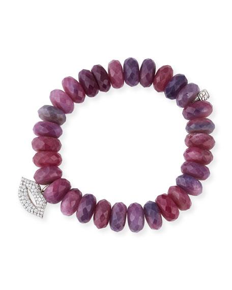 Sydney Evan 12mm Beaded Ruby Rondelle Bracelet With Diamond Lips Charm In Pink