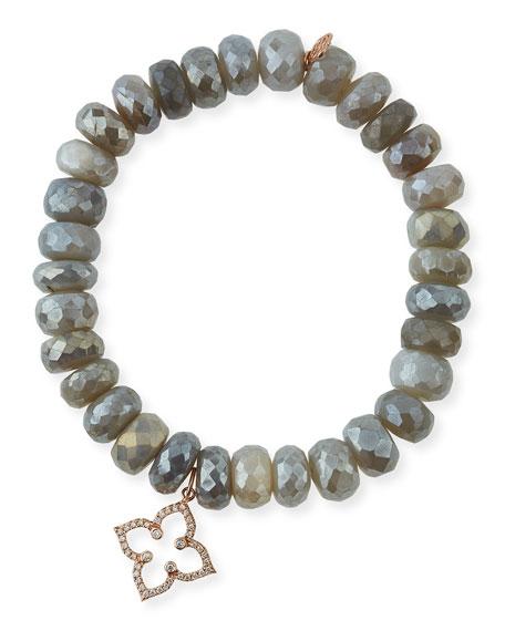 8mm Australian Moonstone Beaded Bracelet with Diamond Moroccan Flower Charm