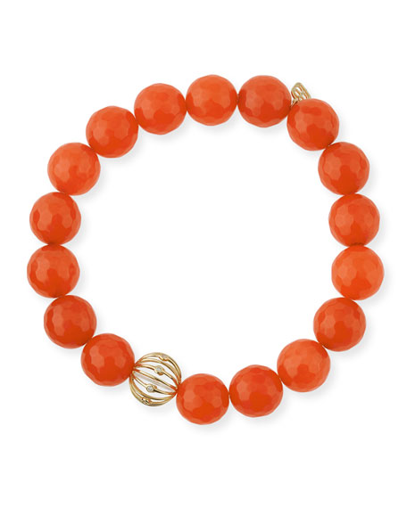 Sydney Evan Orange Agate Beaded Bracelet with Diamond