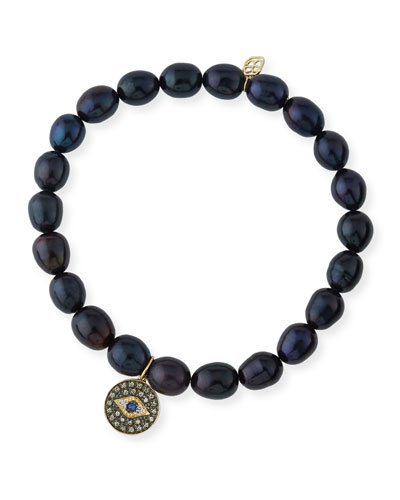 6mm Black Potato Pearl Beaded Bracelet with Diamond & Sapphire Evil Eye Charm