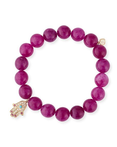 10mm Beaded Berry Jade Bracelet with Diamond & Ruby Hamsa Charm