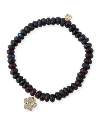 6mm Beaded Garnet Bracelet with Diamond Paw Charm