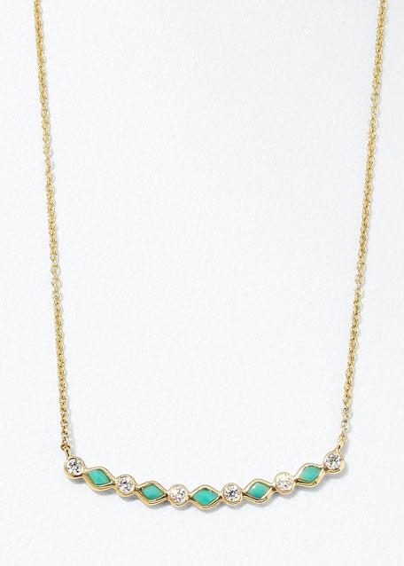 Turquoise & Diamond Bezel Bar Necklace