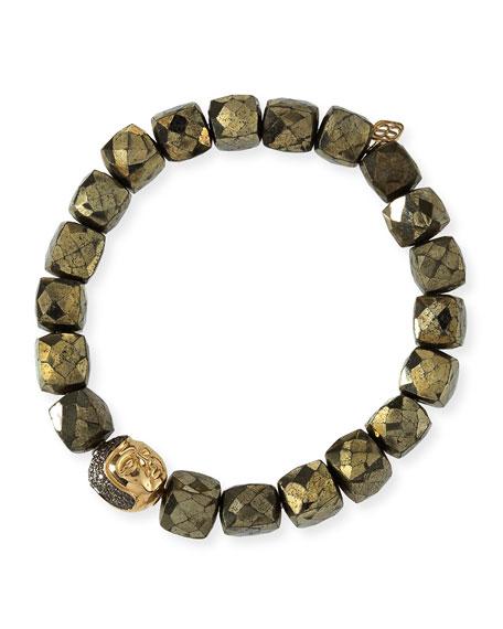 8mm Cubed Pyrite Beaded Bracelet w/ 14k Diamond Buddha Bead