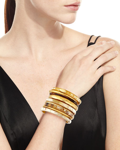 Light Horn & Bronze Stacking Bangles, Set of 9
