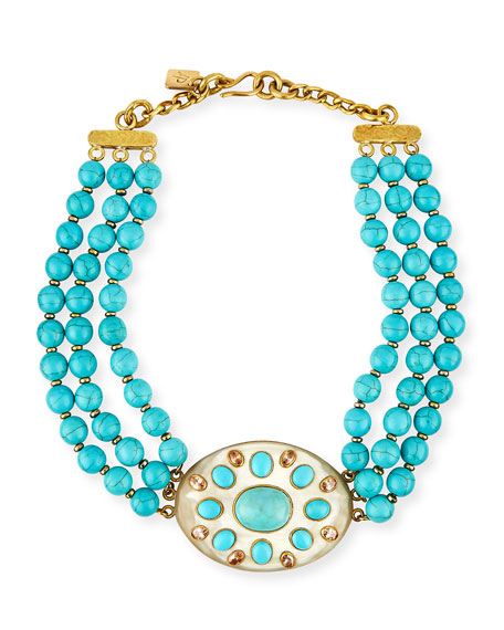 Bendi Turquoise & Light Horn Pendant Necklace