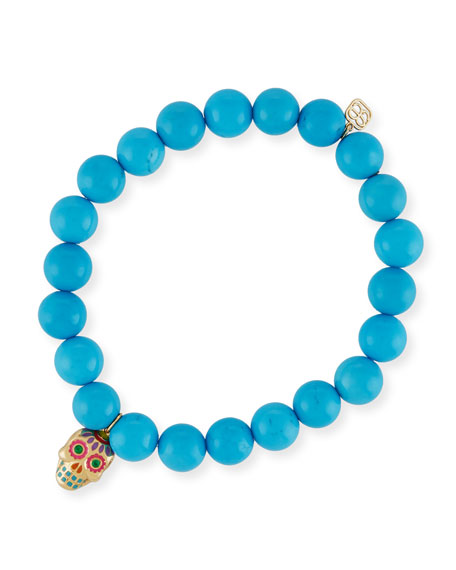 Beaded Turquoise Bracelet with Sugar Skull Charm