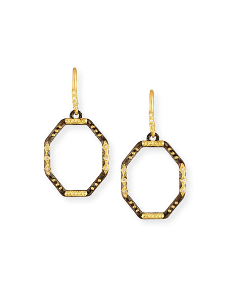 Old World Octagonal Drop Earrings with White Diamonds
