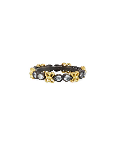 Old World Midnight Stacking Ring with Pear-Cut Sapphires