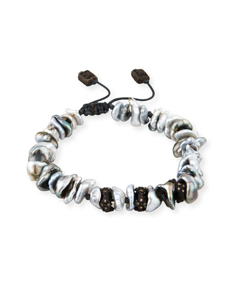 Old World Midnight Keshi Pearl Bracelet with Champagne Diamonds
