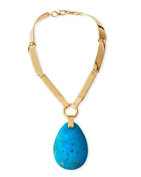 Ellipsoid Bisbee Turquoise Pendant Necklace
