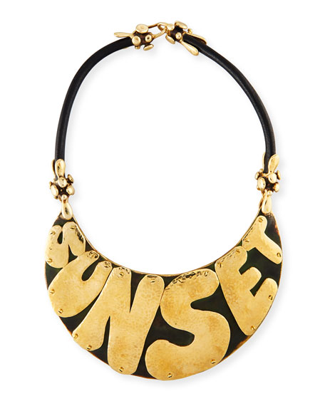 Sunset Bronze & Leather Nameplate Necklace