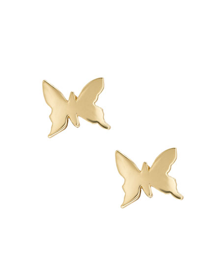 Girls' 14K Gold Butterfly Stud Earrings