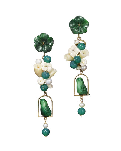 Green Tagua & Pearl Nester Earrings