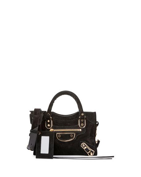 38dbf3949a85 Balenciaga Metallic Edge Suede Mini City Bag