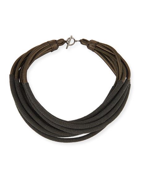 Metallic Leather Monili Necklace