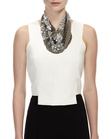 Le Charlot Beaded Scarf Necklace, Gray