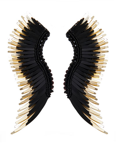 Madeline Beaded Statement Earrings, Black/Golden