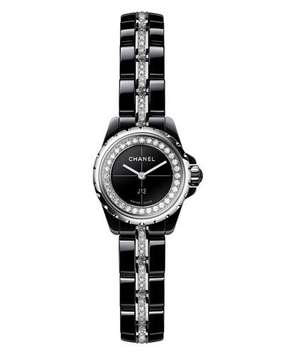 J12 XS Black Ceramic Watch with Diamonds