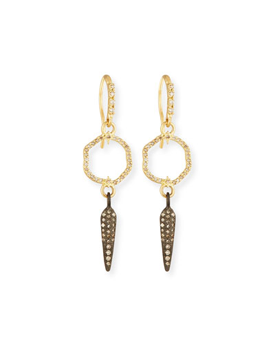 Old World Small Circle Spike Earrings with Diamonds