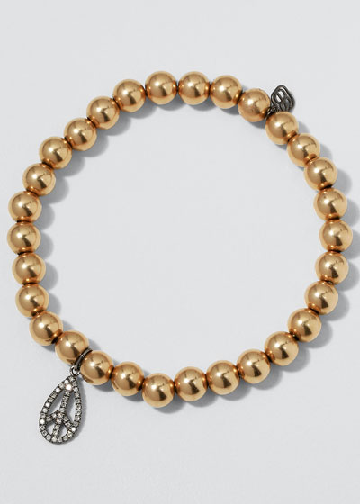 6mm Golden Beaded Bracelet with Diamond Teardrop Peace Charm
