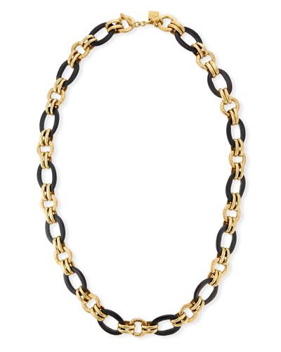 Ikulu Dark Horn & Bronze Chain Necklace, 36