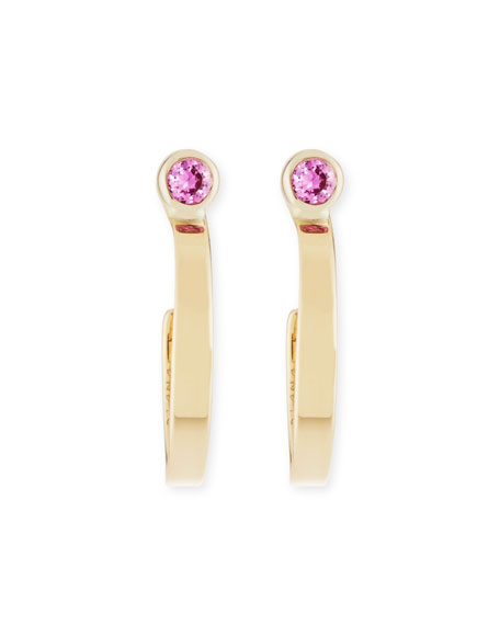 Girls' Pink Sapphire Hoop Earrings