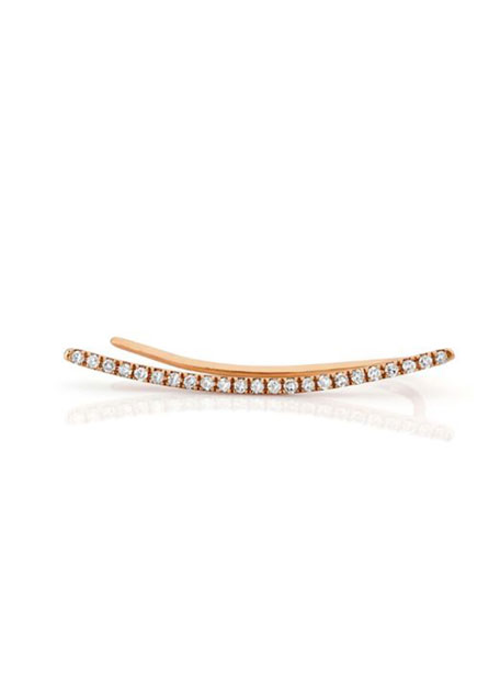 14K Gold & Diamond Bar Cuff Earring - Left