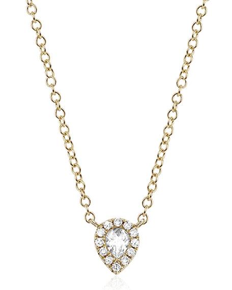 EF Collection White Topaz & Diamond Teardrop Necklace