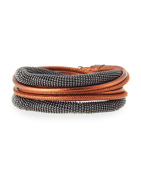 Leather & Monili Wrap Necklace