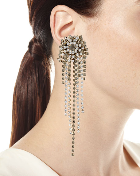 Starburst Crystal Chain Dangle Earrings