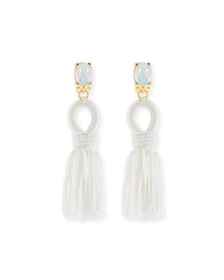Short Silk Tassel Clip Earrings, White