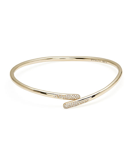18K Gold Stardust Bypass Hinged Bangle Bracelet with Diamonds