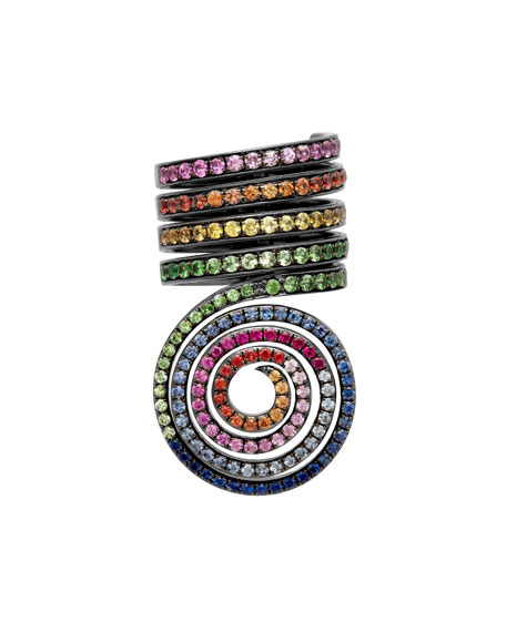 Psychedelic Spiral Coil Ring w/ Mixed Stones